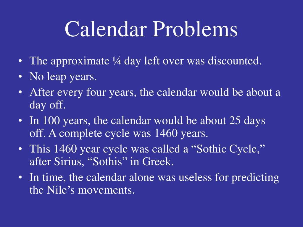 Calendar Problems