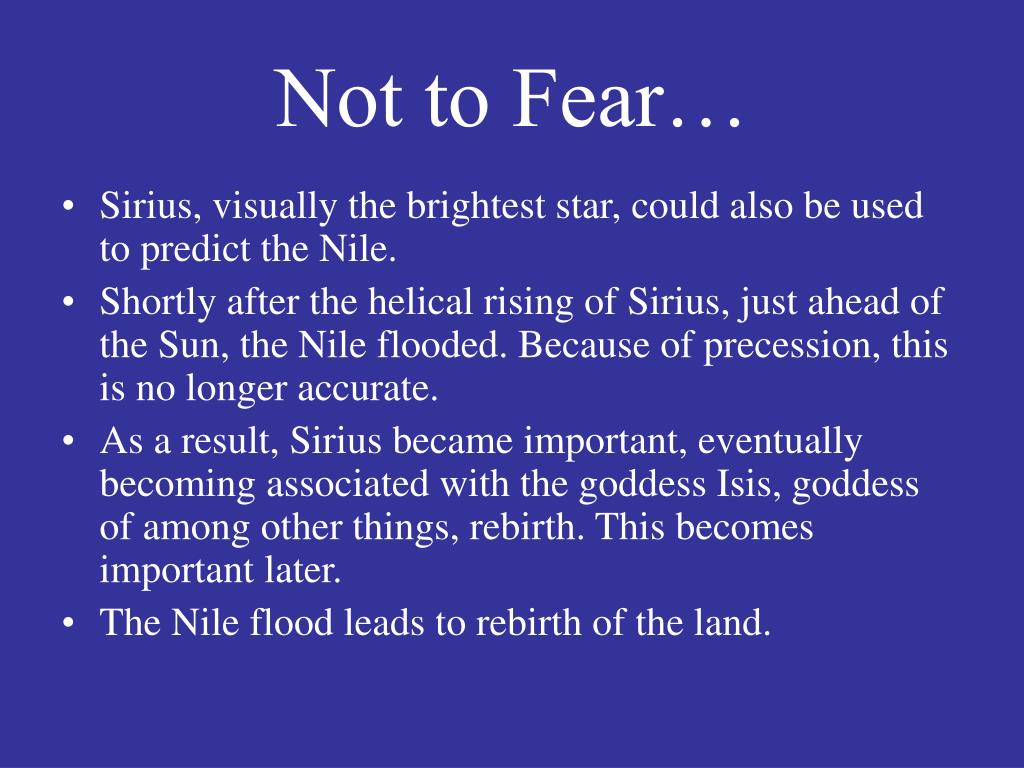Not to Fear…
