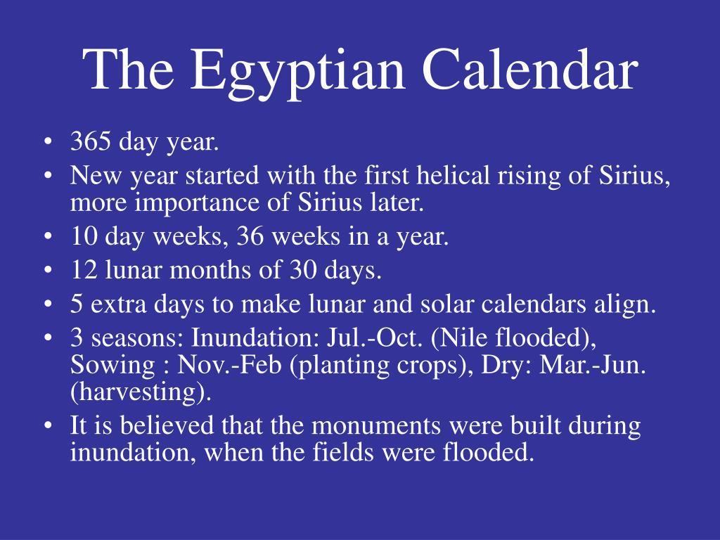 The Egyptian Calendar