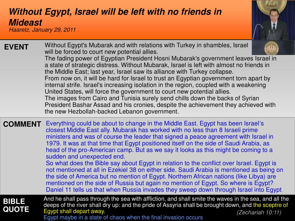 Without Egypt, Israel will be left with no friends in Mideast