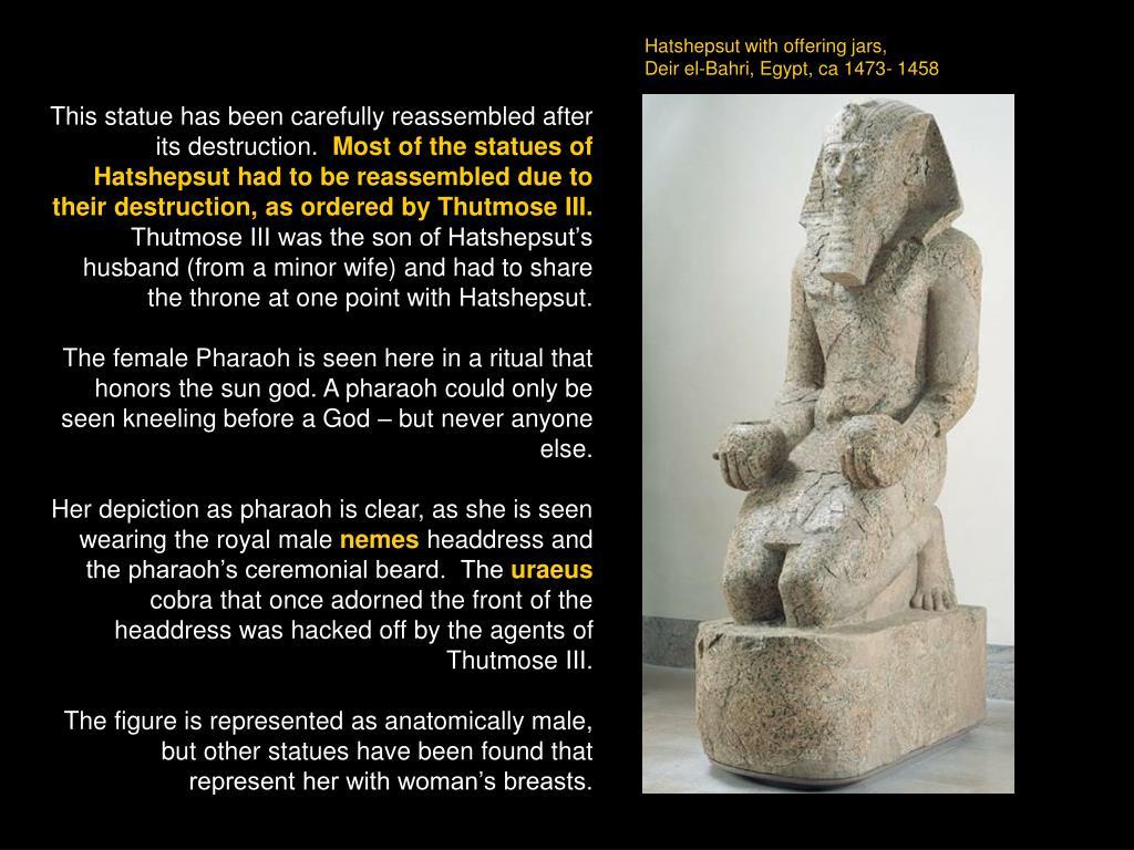 Hatshepsut with offering jars,