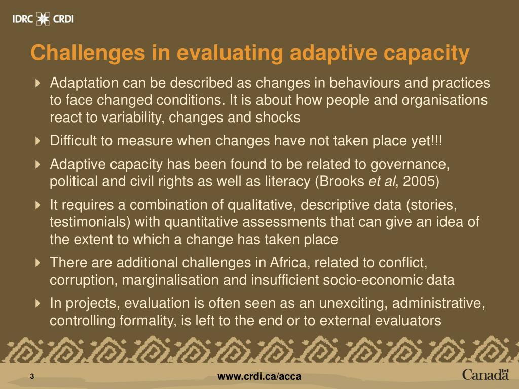Challenges in evaluating adaptive capacity