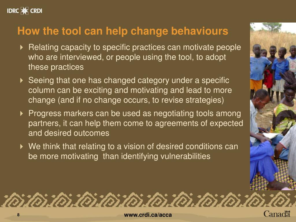 How the tool can help change behaviours