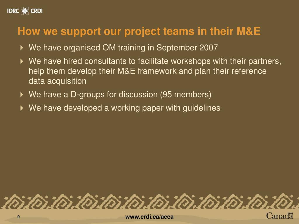 How we support our project teams in their M&E