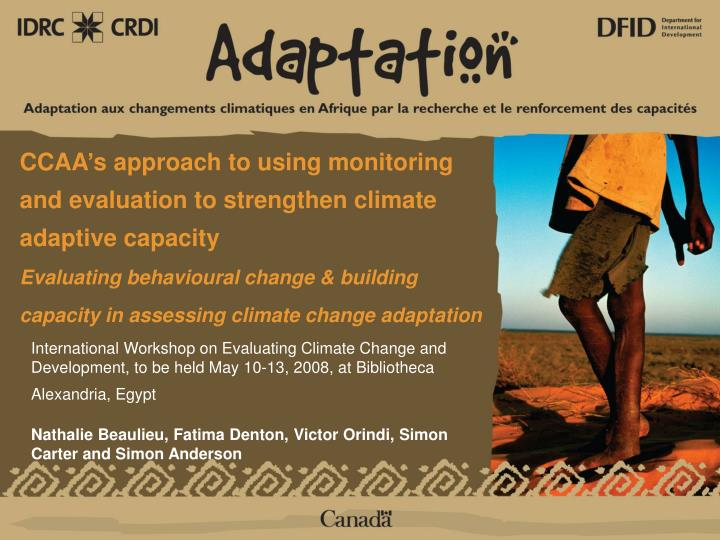 CCAA's approach to using monitoring and evaluation to strengthen climate adaptive capacity
