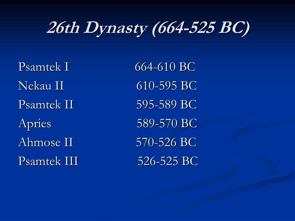 26th Dynasty (664-525 BC)