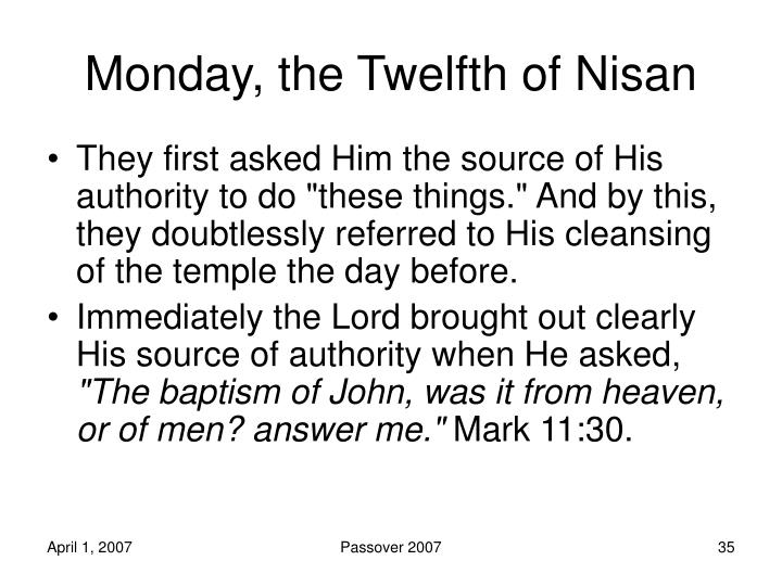 Monday, the Twelfth of Nisan