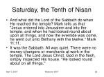 saturday the tenth of nisan1