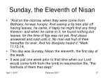 sunday the eleventh of nisan