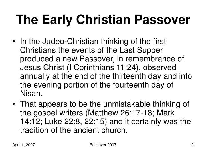 The early christian passover