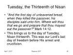 tuesday the thirteenth of nisan