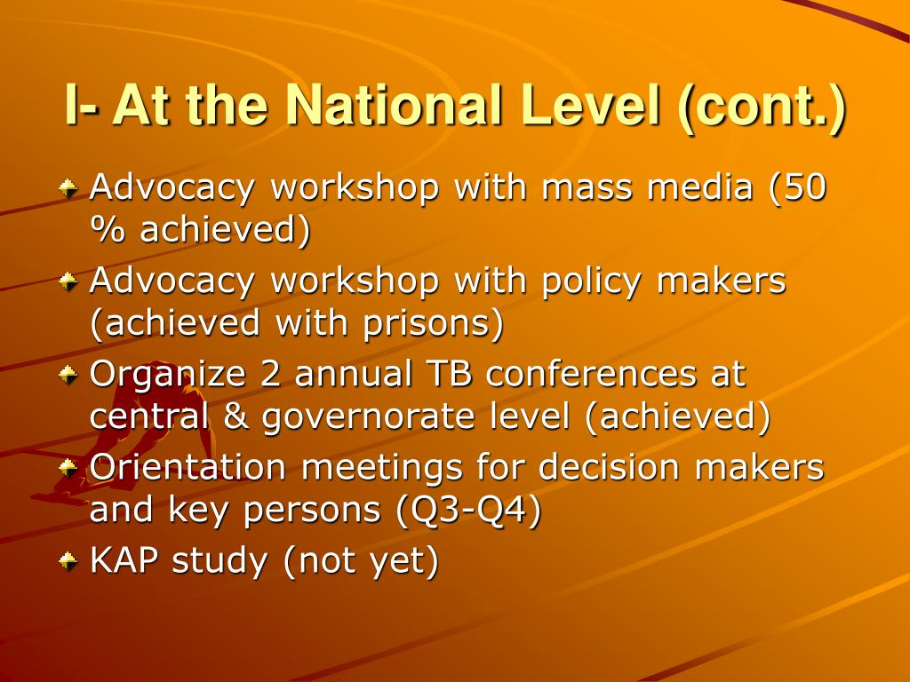 I- At the National Level (cont.)