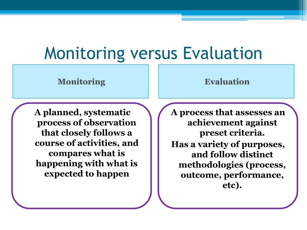 Monitoring versus Evaluation