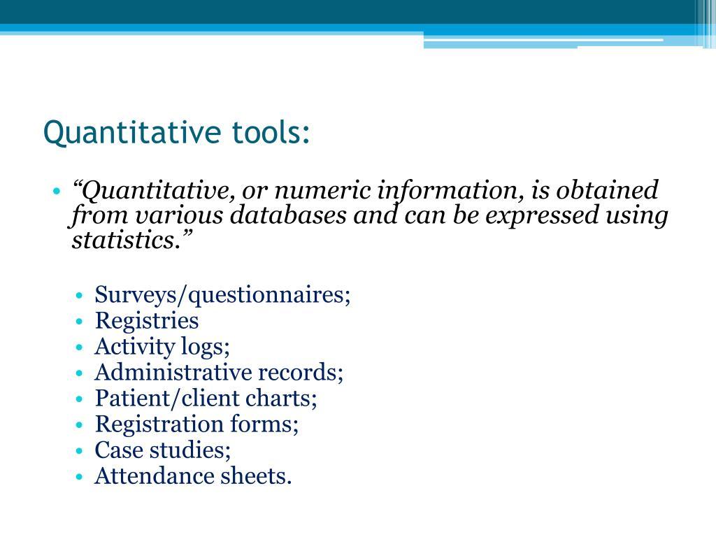 Quantitative tools: