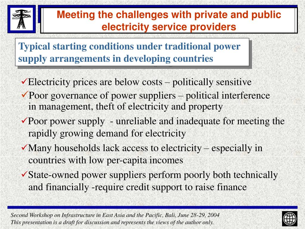 Meeting the challenges with private and public  electricity service providers