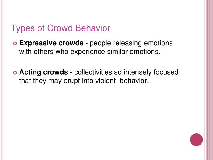 Types of Crowd Behavior