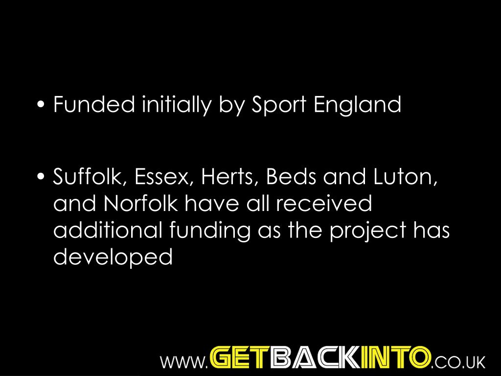 Funded initially by Sport England