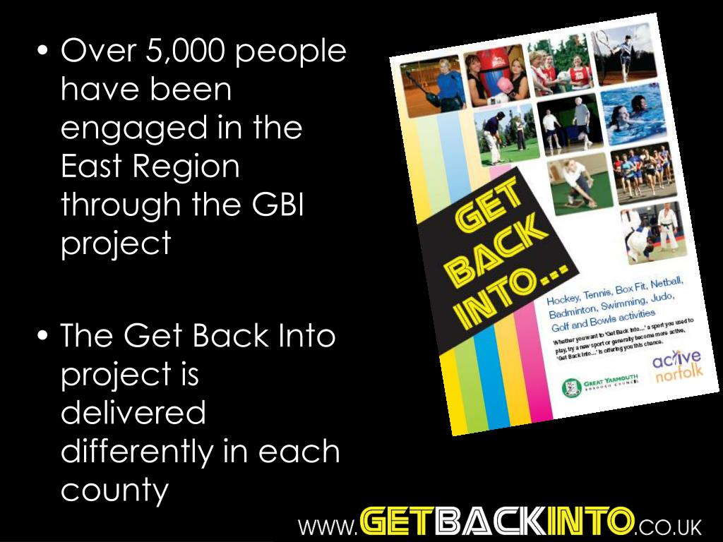 Over 5,000 people have been engaged in the East Region through the GBI project