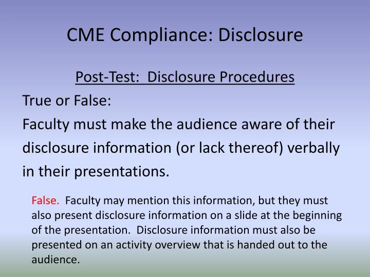 CME Compliance: