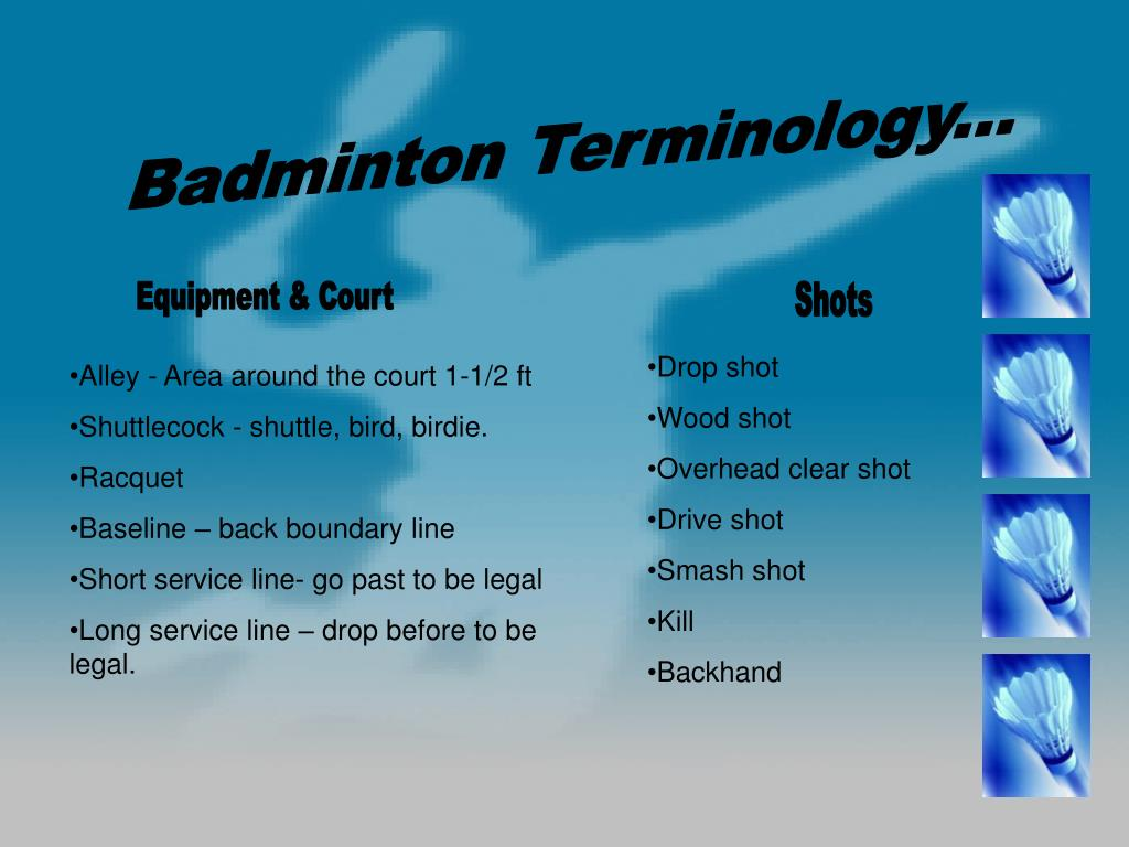 Badminton Terminology...