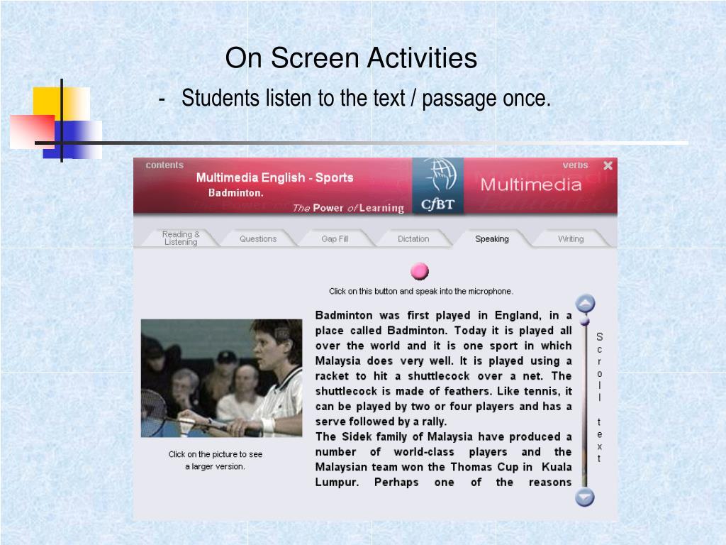 On Screen Activities