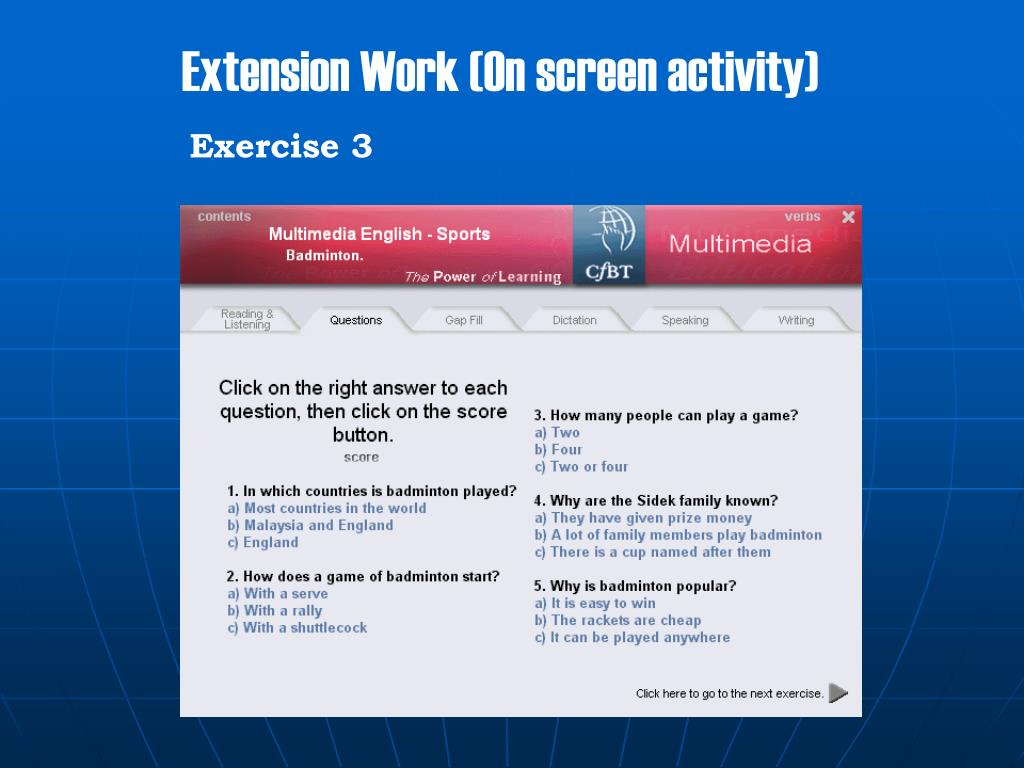 Extension Work (On screen activity)