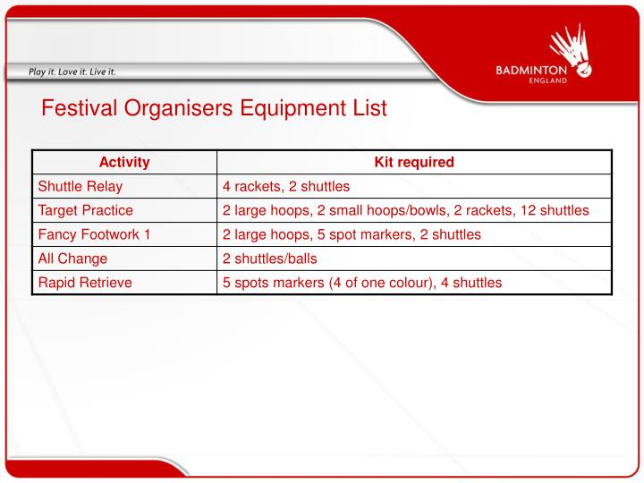 Festival organisers equipment list