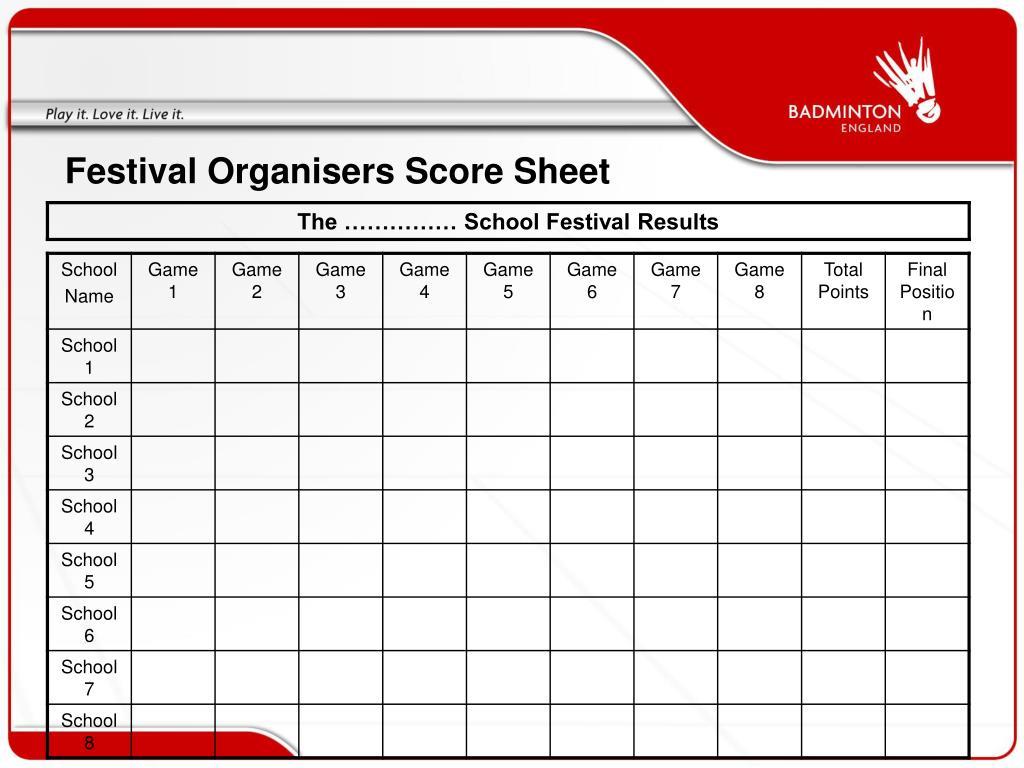 Festival Organisers Score Sheet