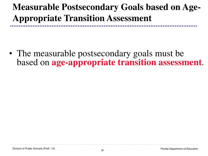 Measurable Postsecondary Goals based on Age-Appropriate Transition Assessment