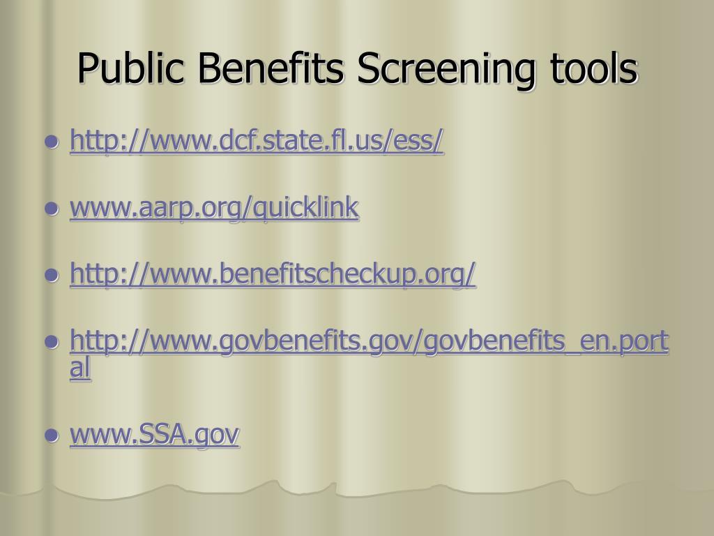 Public Benefits Screening tools