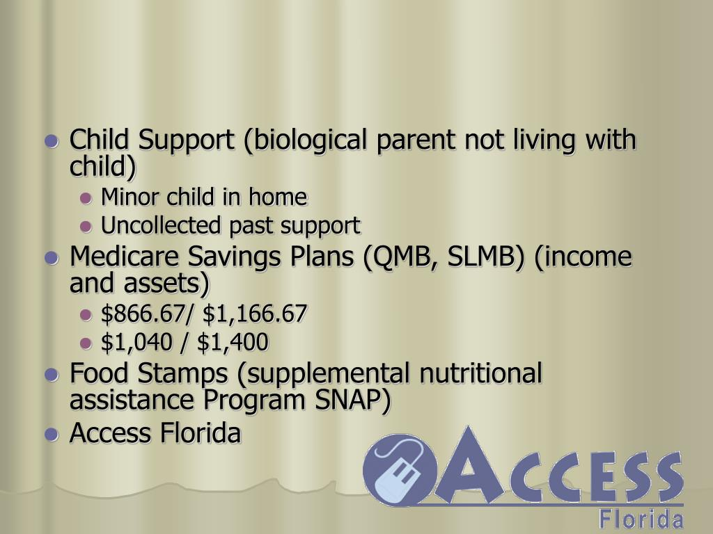 Child Support (biological parent not living with child)