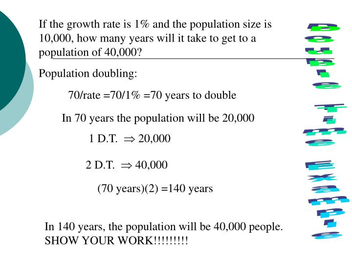 If the growth rate is 1% and the population size is 10,000, how many years will it take to get to a population of 40,000?