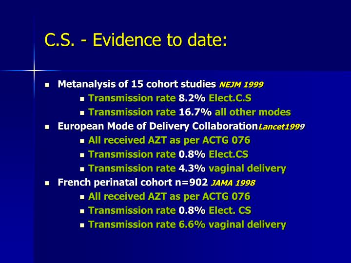 C.S. - Evidence to date: