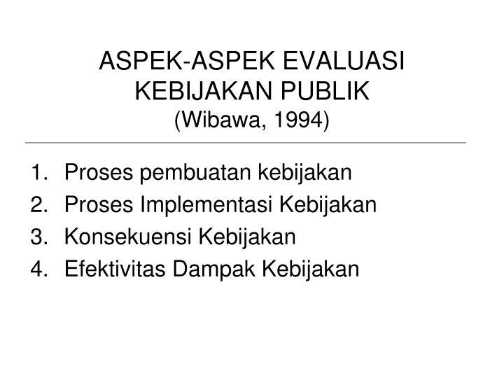 ASPEK-ASPEK EVALUASI KEBIJAKAN PUBLIK