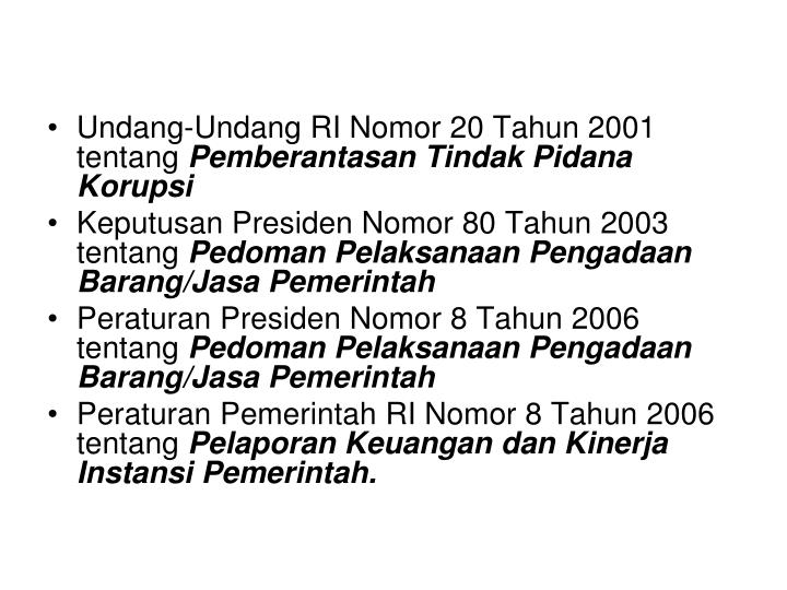 Undang-Undang RI Nomor 20 Tahun 2001 tentang