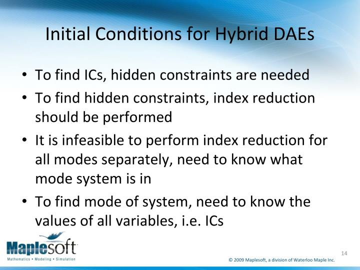 Initial Conditions for Hybrid DAEs