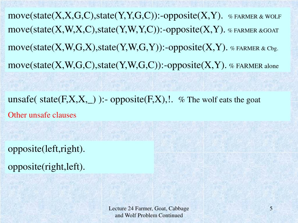 move(state(X,X,G,C),state(Y,Y,G,C)):-opposite(X,Y).