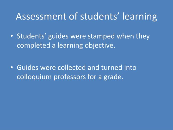Assessment of students' learning