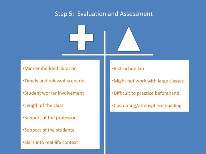 Step 5:  Evaluation and Assessment
