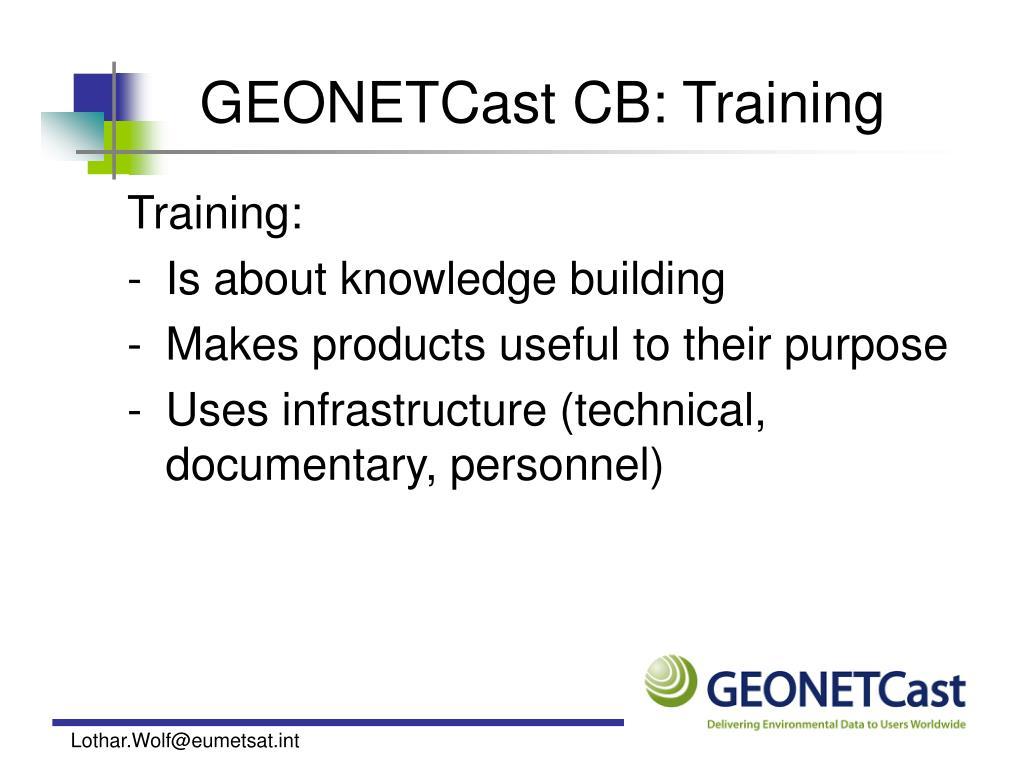 GEONETCast CB: Training