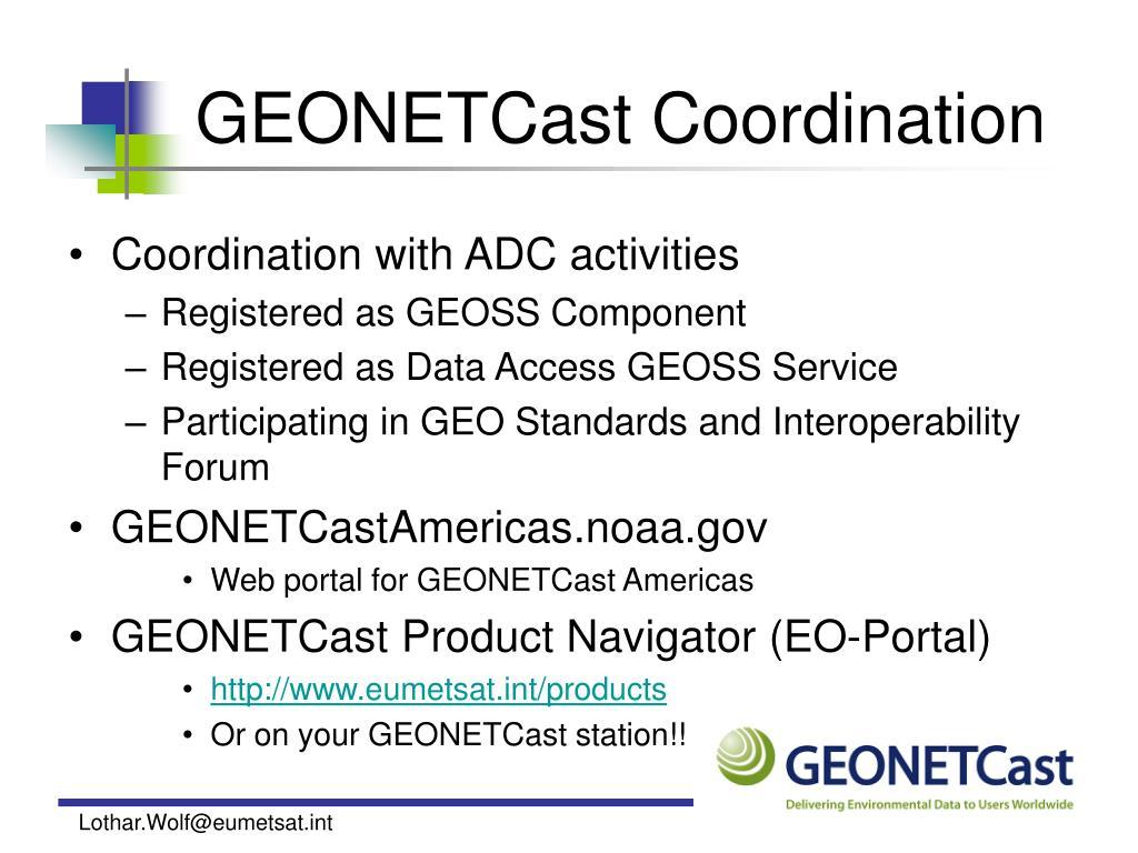 GEONETCast Coordination
