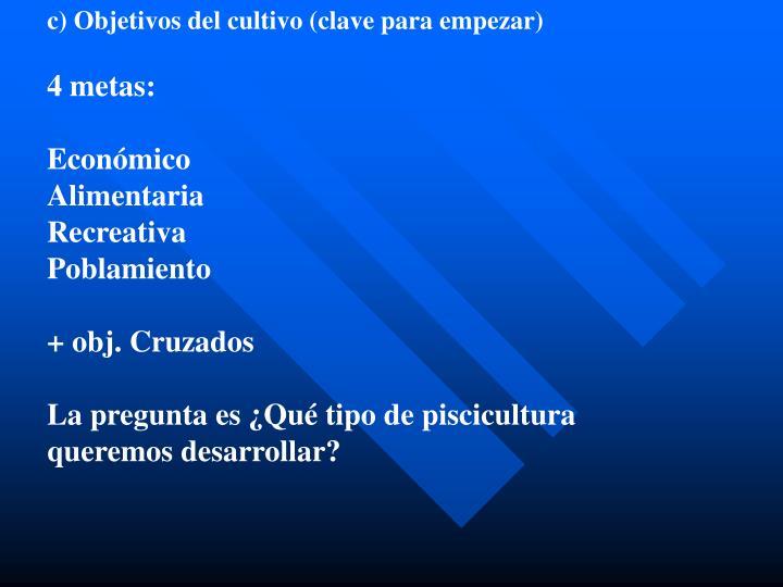 c) Objetivos del cultivo (clave para empezar)