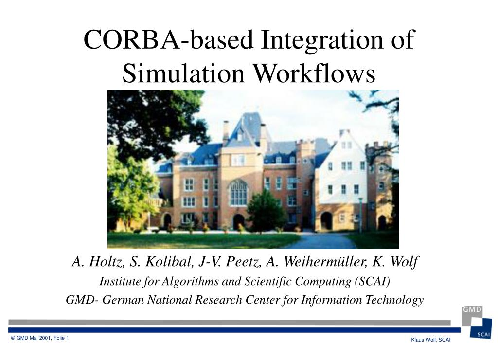 corba based integration of simulation workflows