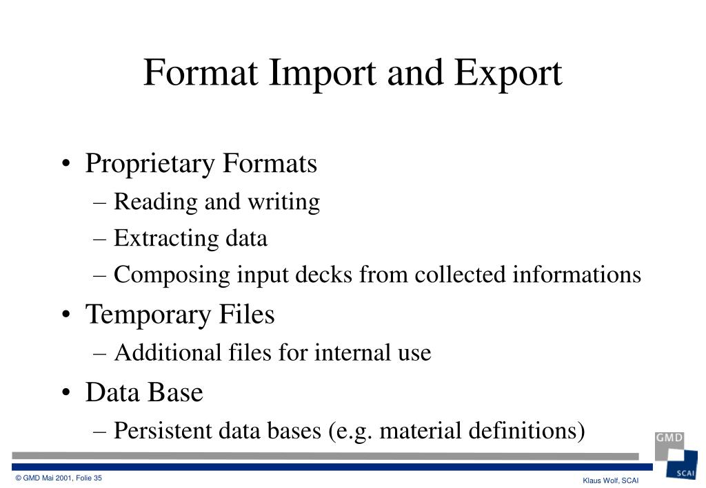 Proprietary Formats