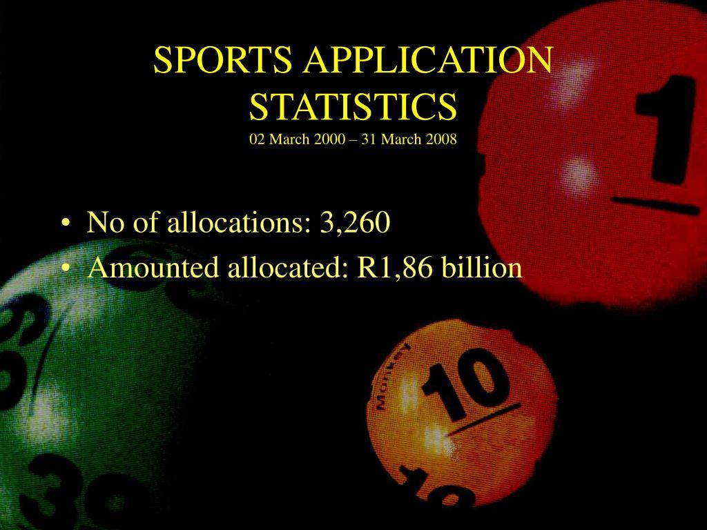 SPORTS APPLICATION STATISTICS