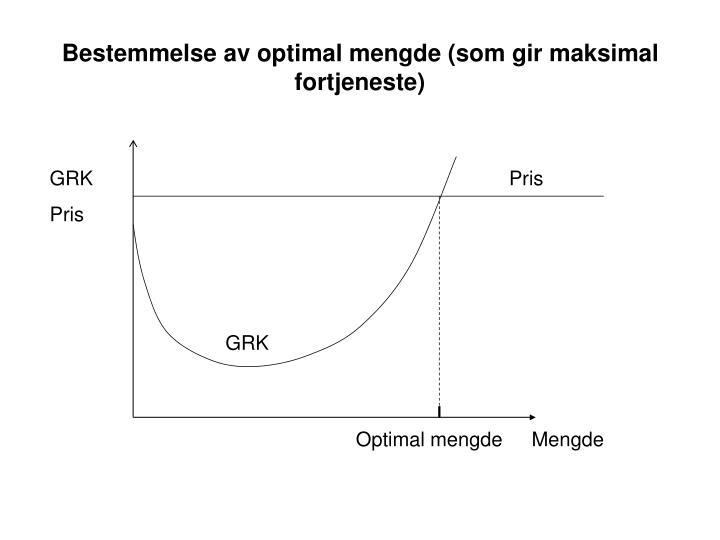 Bestemmelse av optimal mengde (som gir maksimal fortjeneste)