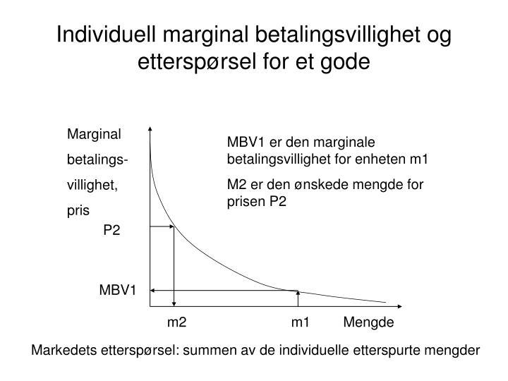 Individuell marginal betalingsvillighet og etterspørsel for et gode