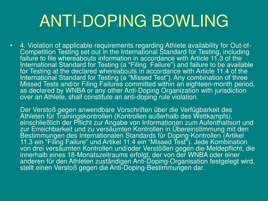 ANTI-DOPING BOWLING