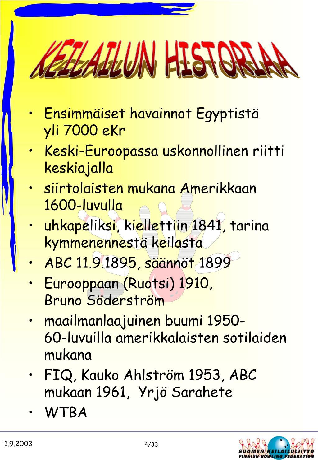 KEILAILUN HISTORIAA