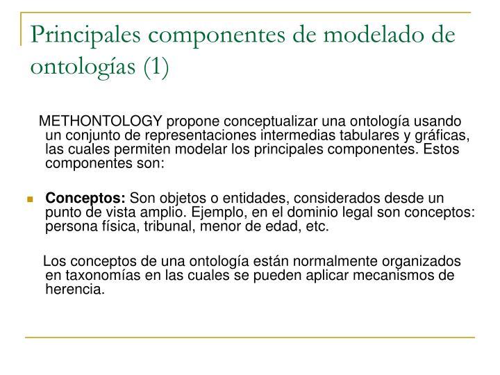 Principales componentes de modelado de ontologías (1)